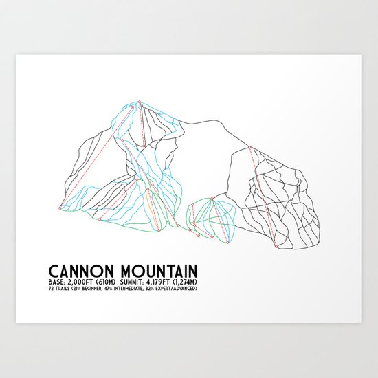 Cannon Mountain, NH - Minimalist Trail Art Art Print