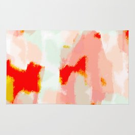 Veronica - Red & blush abstract art Rug