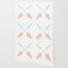 Arrows Turquoise Coral on White Wallpaper