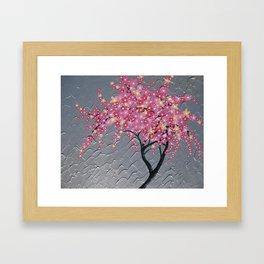 pink and grey japanese cherry blossom design japan sakura blossoms pretty art case for throw pillow Framed Art Print