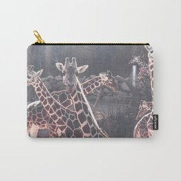 Giraffe Picture // Spotted Long Neck Graceful Creatures in Wildlife Preserve Carry-All Pouch