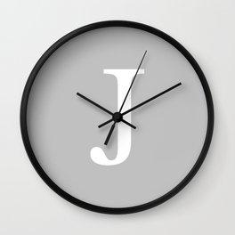 Silver Gray Basic Monogram J Wall Clock