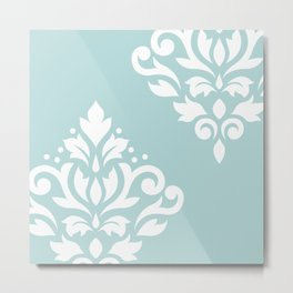 Scoll Damask Art I White on Duck Egg Blue Metal Print
