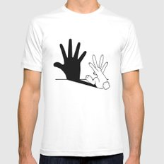 Rabbit Hand Shadow White Mens Fitted Tee MEDIUM