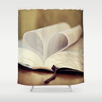 bible verse Shower Curtains featuring Love Bible by Vintage Rain Photography