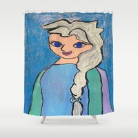 elsa Shower Curtains featuring Elsa! by Izzy Tan