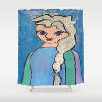 frozen elsa Shower Curtains featuring Elsa! by Izzy Tan