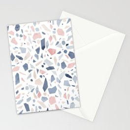 Terrazzo vintage pastel blue pink Stationery Cards