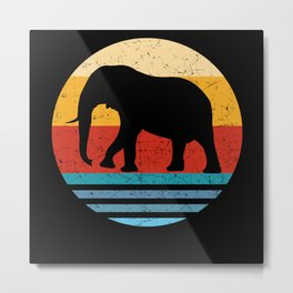 Retro Elephant Silhouette Metal Print