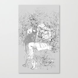 Lady in Peonies Canvas Print