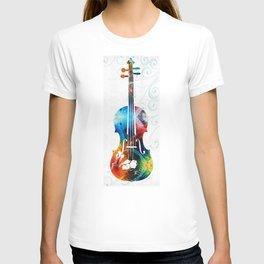 Colorful Violin Art by Sharon Cummings T-shirt
