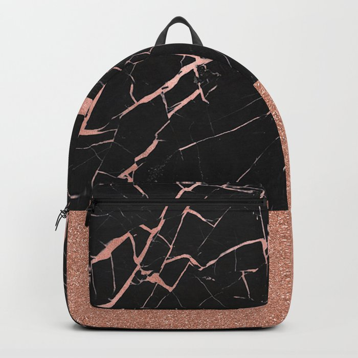 Dark stormy rose gold marble Backpack