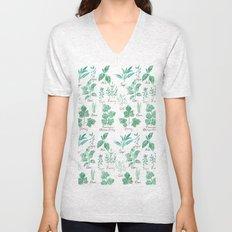 green herbs family watercolor Unisex V-Neck