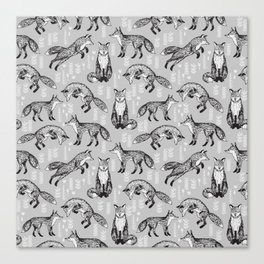 Fox pattern drawing foxes cute andrea lauren grey forest animals woodland nursery Canvas Print