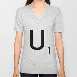 Letter U - Custom Scrabble Letter Tile Art - Scrabble U Initial Unisex V-Neck
