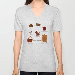 Colors: brown (Los colores: marrón) Unisex V-Neck