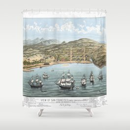 SAN FRANCISCO CALIFORNIA city old map Father Day art print poster Shower Curtain