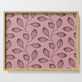 Climbing Leaves In Dusky Copper On Rose Serving Tray