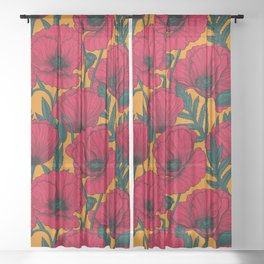 Red poppy garden    Sheer Curtain