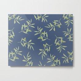 Olive Branch pattern Design - blue Metal Print