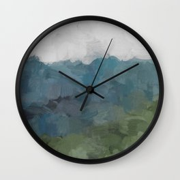 Gray Blue Navy Indigo Sage Leafy Green Sky Forest Abstract Painting, Modern Wall Art, Portrait Wall Clock