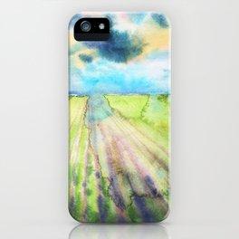 Watercolor landscape sky clouds iPhone Case