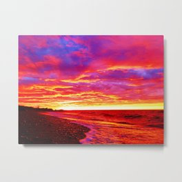 Deep Red Saturated Sunset Metal Print