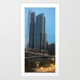 Chicago Skyline, Skyscrapers, Sunset Art Print