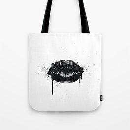 Black lips Tote Bag