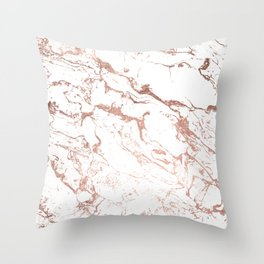 Modern chic faux rose gold white marble pattern Throw Pillow