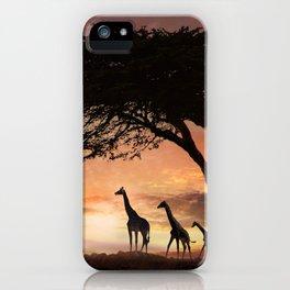 Purple Safari Sunset- giraffe family iPhone Case