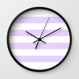 Chalky Pale Lilac Pastel and White Cabana Tent Stripes Wall Clock