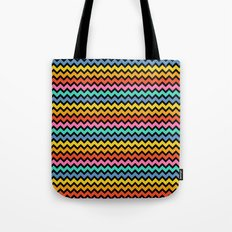 Happy Zigzag on Black Tote Bag
