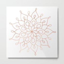 Mandala Rose Gold Pink Star Metal Print