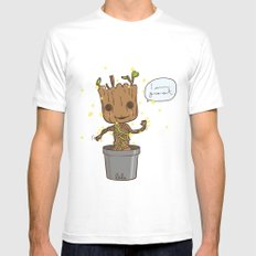 Groot White MEDIUM Mens Fitted Tee