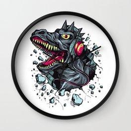 Dino with Headphones Grey Ebony Clay Wall Clock