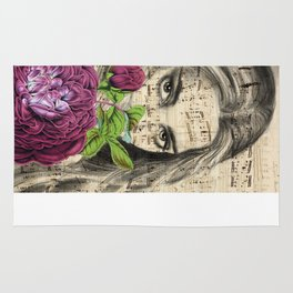 Lady With Roses Rug