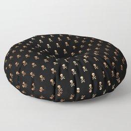 SKULLS PATTERN - BLACK & ROSE GOLD - LARGE Floor Pillow