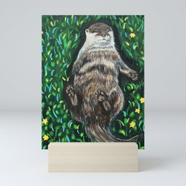 Relaxing River Otter Painting Mini Art Print