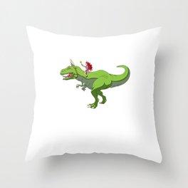 Girl Riding T-Rex With Unicorn Horn Fairy Fantasy Throw Pillow