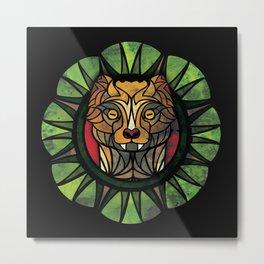 Geometric Mongoose - Black Metal Print