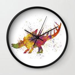 Kentrosaurus dinosaur in watercolor Wall Clock