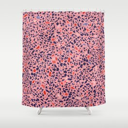 Terrazzo pink red blue Shower Curtain