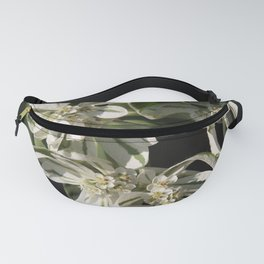 Green and White Flowers Fanny Pack