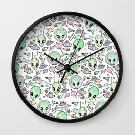 Alien and UFO pattern Wall Clock