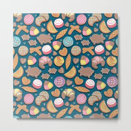 Mexican Sweet Bakery Frenzy // turquoise background // pastel colors pan dulce Metal Print