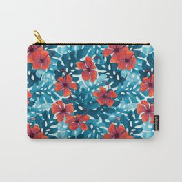 Tropical Hibiscus Pattern Red Carry-All Pouch