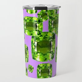 Green Peridot Birthstone Gems with Purple Color Accents Travel Mug