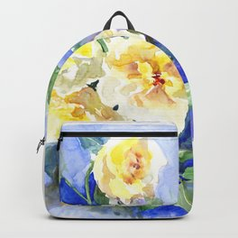 Yellow Roses and Blue , garden floral art, yellow blue watercolor Backpack