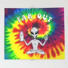 Far Out Alien (Tie Dye) Throw Blanket